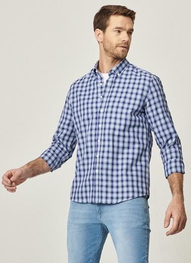 AC&Co / Altınyıldız Classics Tailored Slim Fit Dar Kesim Düğmeli Yaka Kareli Gömlek 4A2021100175 Lacivert